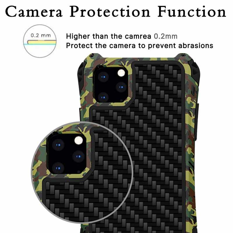 discount R-JUST Aluminum Metal Carbon Fiber Shockproof Case for iPhone 11 Pro - Camouflage