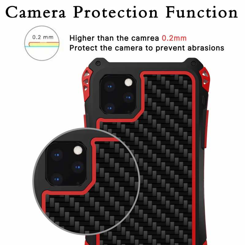 discount R-JUST Aluminum Metal Bumper Silicone TPU Carbon Fiber Shockproof Case for iPhone 11 Pro - Red
