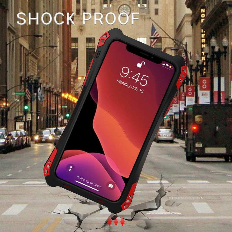 top quality R-JUST Aluminum Metal Bumper Silicone TPU Carbon Fiber Shockproof Case for iPhone 11 Pro - Red