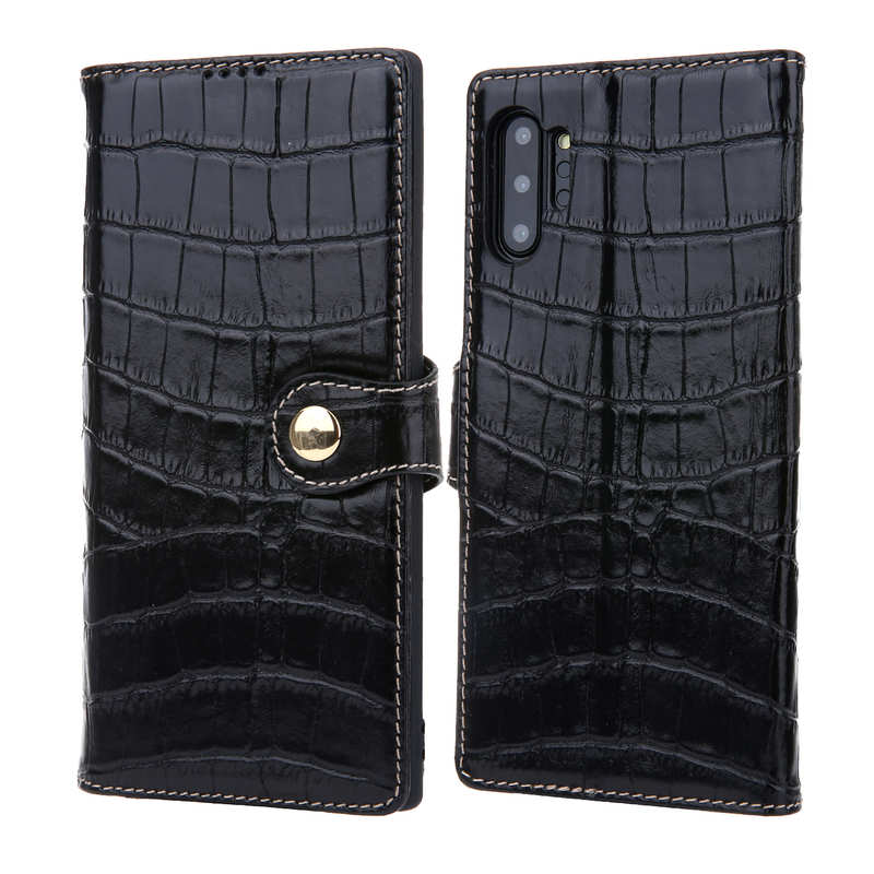 wholesale Real Cowhide Leather Crocodile Case Cover Wallet Card Stand For Samsung Note 10+ / 10 - Black