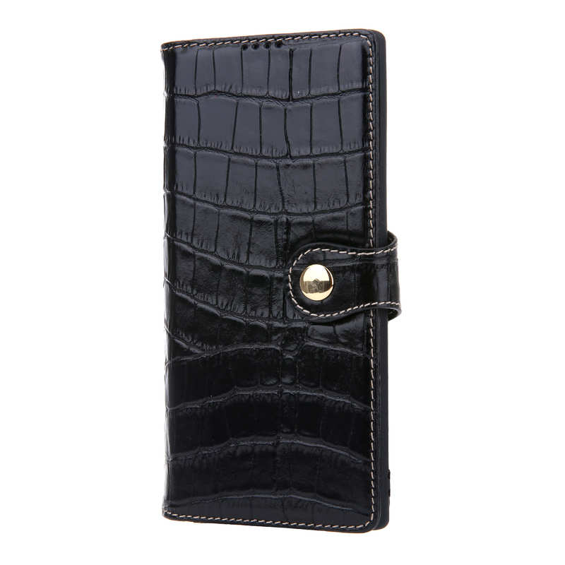 discount Real Cowhide Leather Crocodile Case Cover Wallet Card Stand For Samsung Note 10+ / 10 - Black