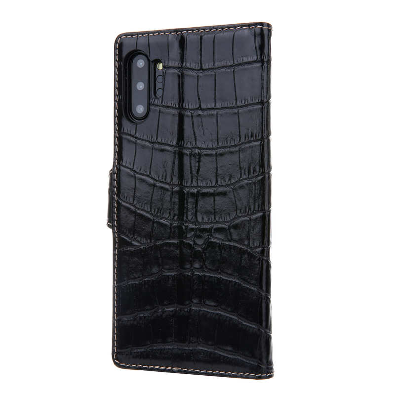 cheap Real Cowhide Leather Crocodile Case Cover Wallet Card Stand For Samsung Note 10+ / 10 - Black
