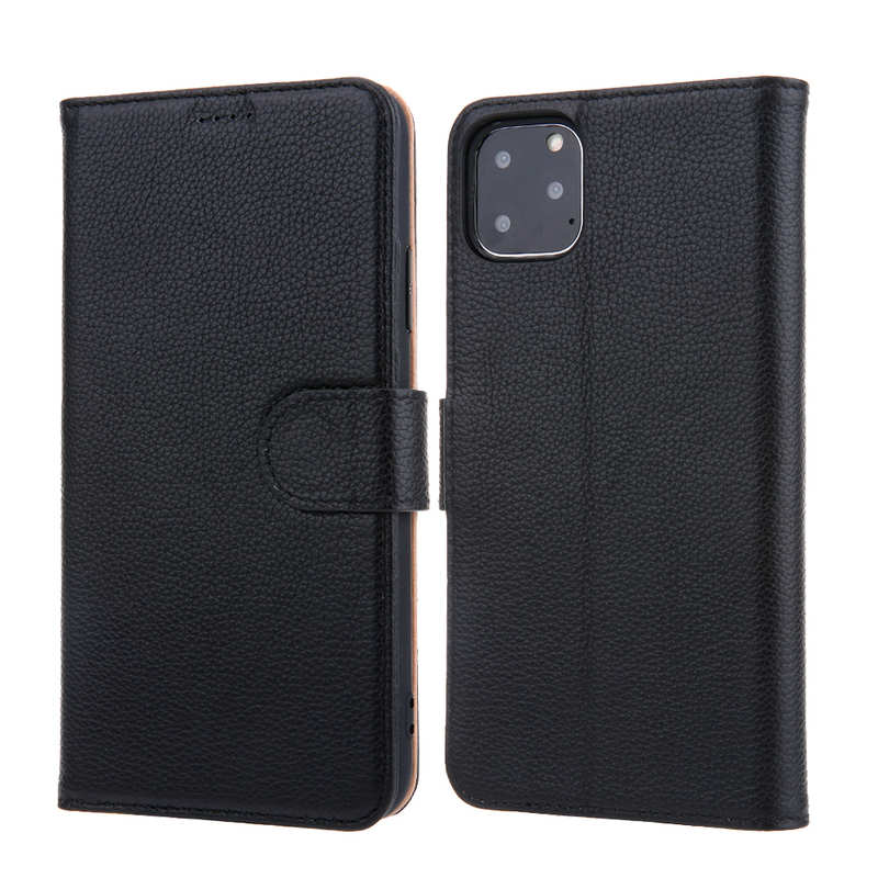 wholesale Real Genuine Cowhide Litchi Grain Leather Flip Case For iPhone 11 Pro Max - Black