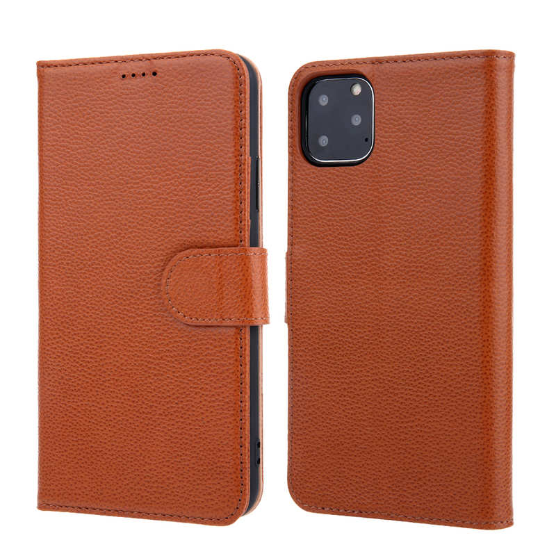 wholesale Real Genuine Cowhide Litchi Grain Leather Flip Case For iPhone 11 Pro Max - Brown
