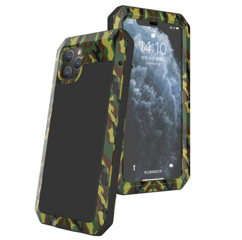 wholesale Waterproof Shockproof Aluminum Gorilla Glass Metal Case For iPhone SE 2020 7 8 Plus X XR iPhone 11 Pro Max - Camouflage