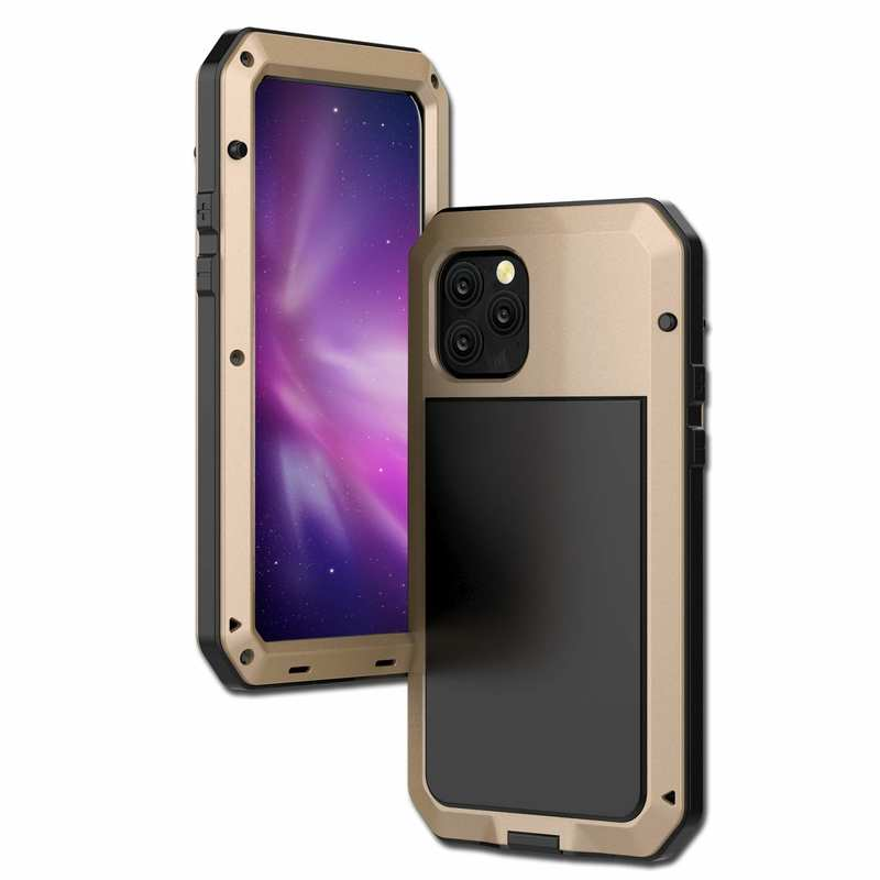 wholesale Waterproof Shockproof Aluminum Gorilla Glass Metal Case For iPhone 11 Pro Max - Gold