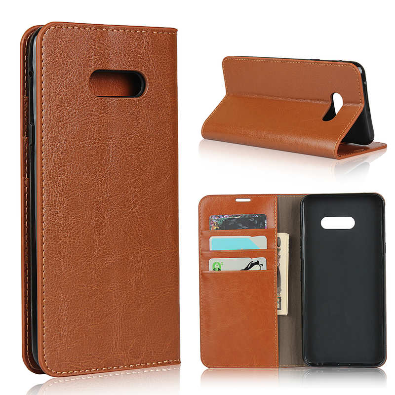 wholesale For LG V50S - Genuine Leather Case Wallet Stand Flip Cover - Brown