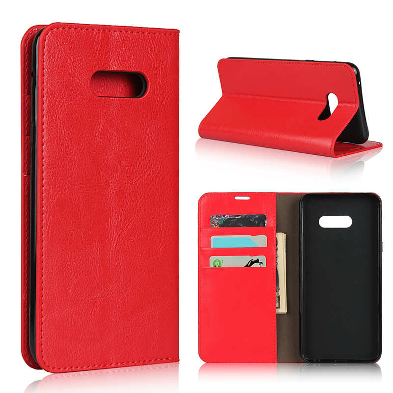 wholesale For LG V50S - Genuine Leather Case Wallet Stand Flip Cover - Red