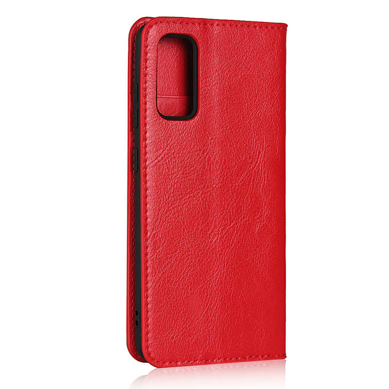 cheap For Samsung Galaxy S20 - Genuine Leather Case Wallet Stand Phone Cover - Red