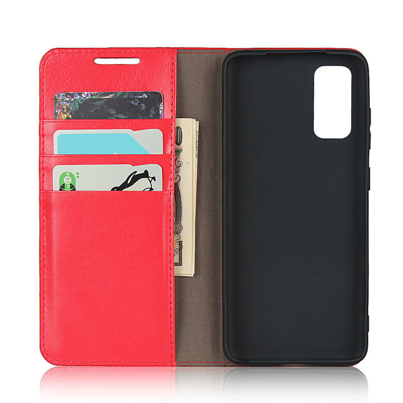 top quality For Samsung Galaxy S20 - Genuine Leather Case Wallet Stand Phone Cover - Red
