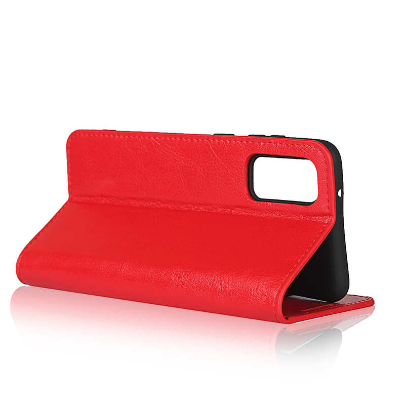best price For Samsung Galaxy S20 - Genuine Leather Case Wallet Stand Phone Cover - Red