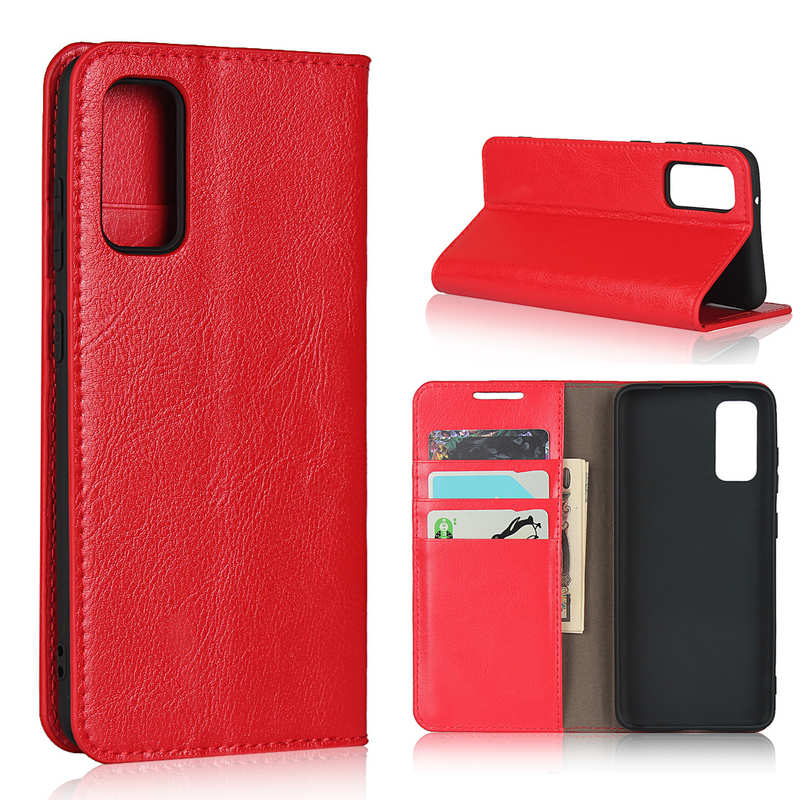 wholesale For Samsung Galaxy S20 - Genuine Leather Case Wallet Stand Phone Cover - Red