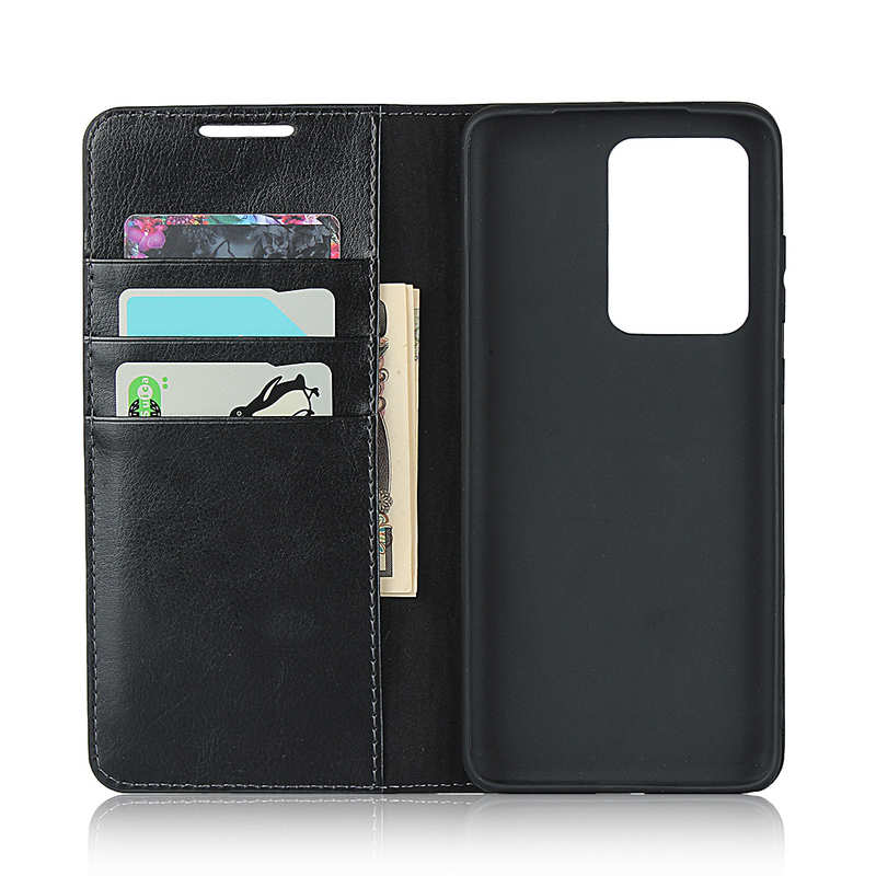top quality For Samsung Galaxy S20 Ultra - Genuine Leather Case Wallet Stand Phone Cover - Black
