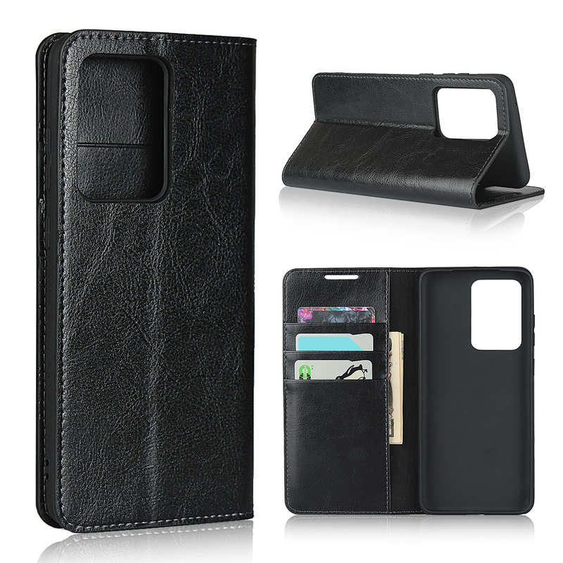 wholesale For Samsung Galaxy S20 Ultra - Genuine Leather Case Wallet Stand Phone Cover - Black