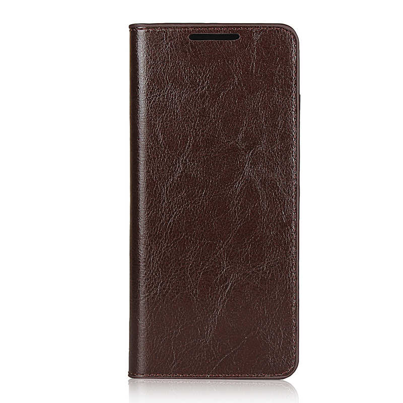 discount For Samsung Galaxy S20 Ultra - Genuine Leather Case Wallet Stand Phone Cover - Coffee