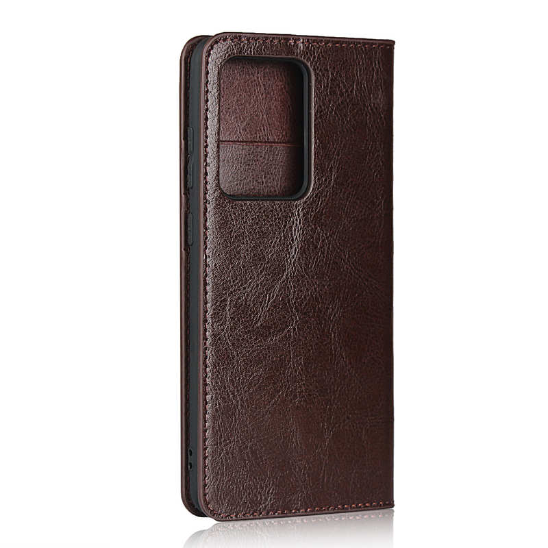 cheap For Samsung Galaxy S20 Ultra - Genuine Leather Case Wallet Stand Phone Cover - Coffee