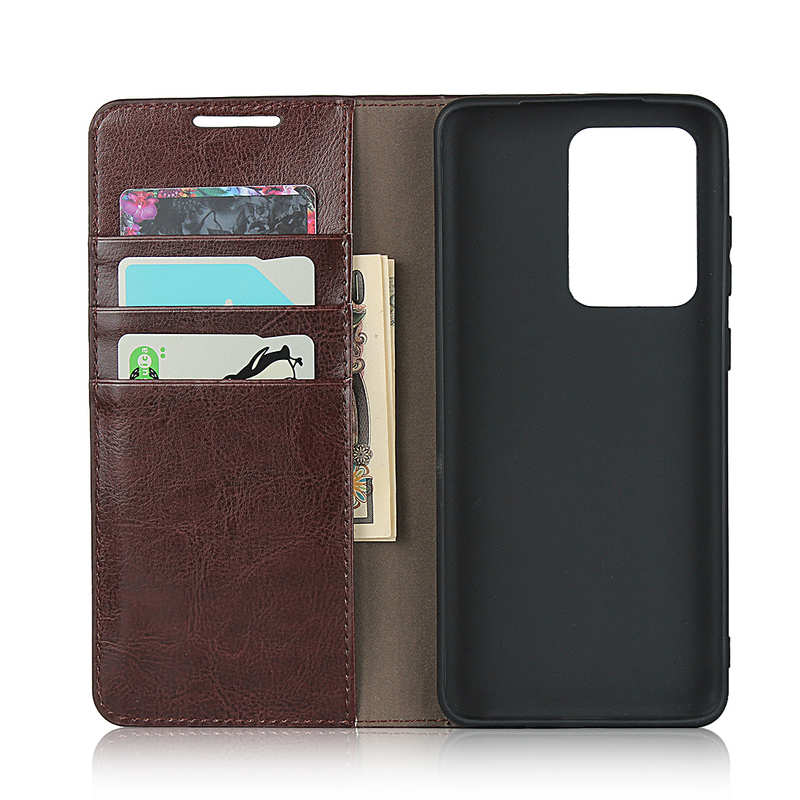 top quality For Samsung Galaxy S20 Ultra - Genuine Leather Case Wallet Stand Phone Cover - Coffee
