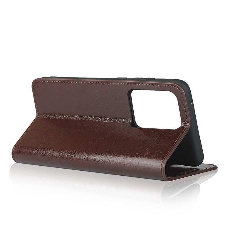 best price For Samsung Galaxy S20 Ultra - Genuine Leather Case Wallet Stand Phone Cover - Coffee