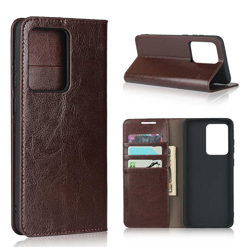 wholesale For Samsung Galaxy S20 Ultra - Genuine Leather Case Wallet Stand Phone Cover - Coffee