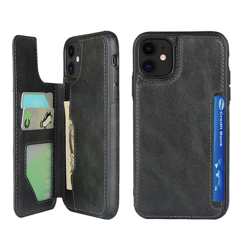 wholesale For iPhone 11 - Leather Wallet Card Holder Back Case Cover - Black