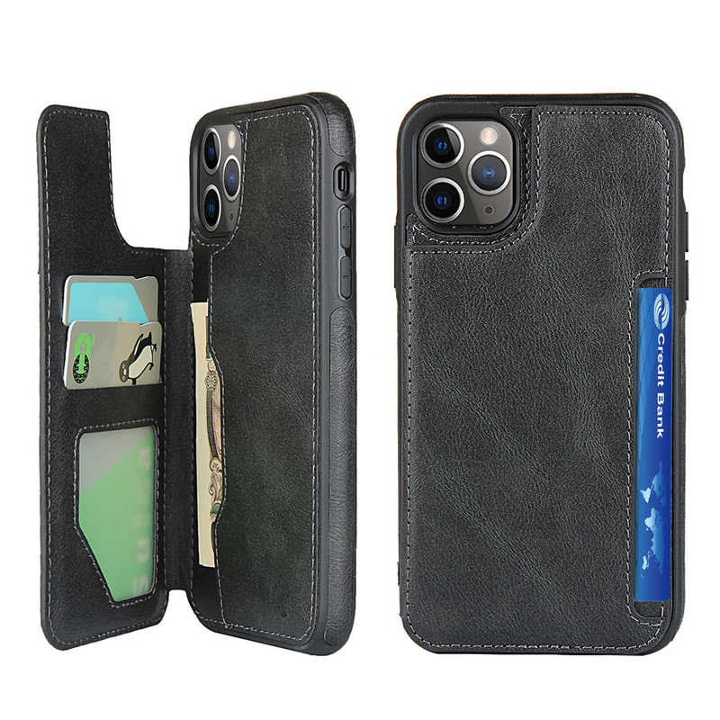 wholesale For iPhone 11 Pro - Leather Flip Wallet Card Holder Case Cover - Black