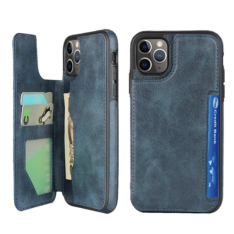 wholesale For iPhone 11 Pro - Leather Flip Wallet Card Holder Case Cover - Dark Blue