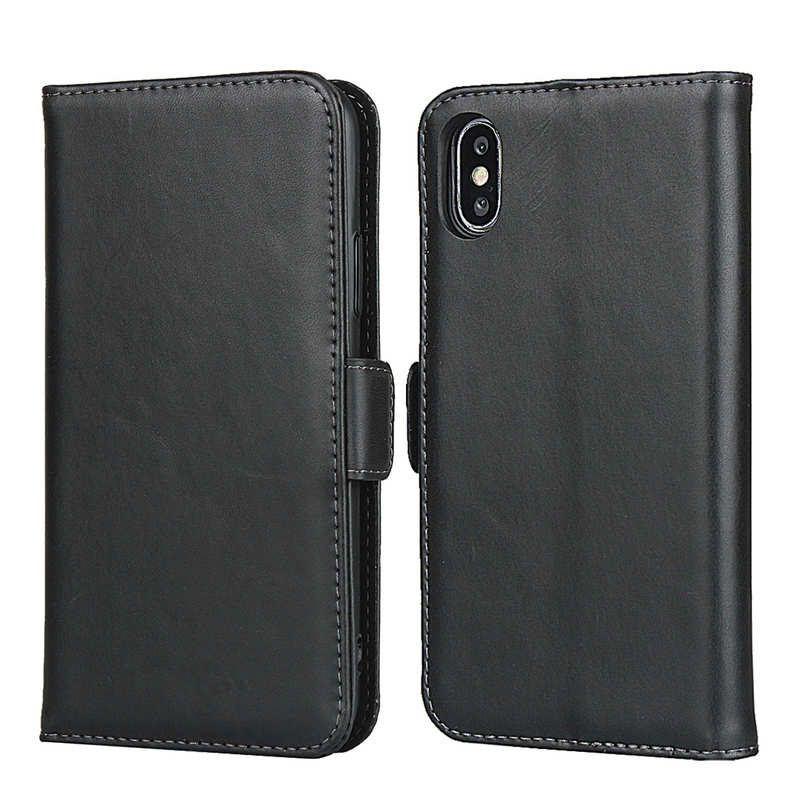 wholesale For iPhone XS X Genuine Leather Wallet Card Case Cover Stand - Black