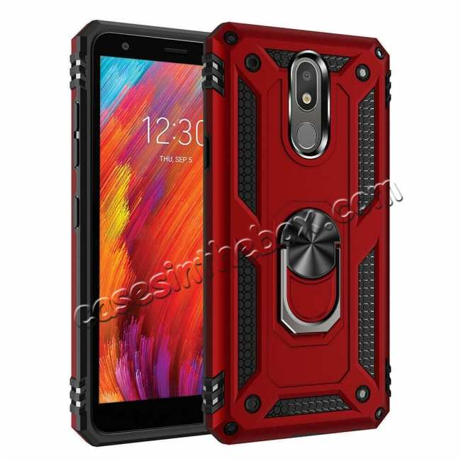 For Lg K30 2019 Shockproof Ring Holder Stand Armor Case Cover Red 50094
