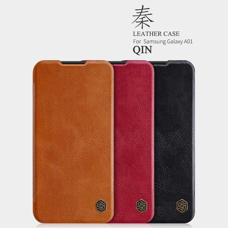 low price For Samsung Galaxy A01 - Nillkin Qin Leather Case Shockproof Card Slot Flip Case Cover