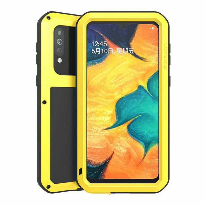wholesale For Samsung Galaxy A40S - Love Mei Powerful Shockproof Aluminium Metal Cover Case  - Yellow