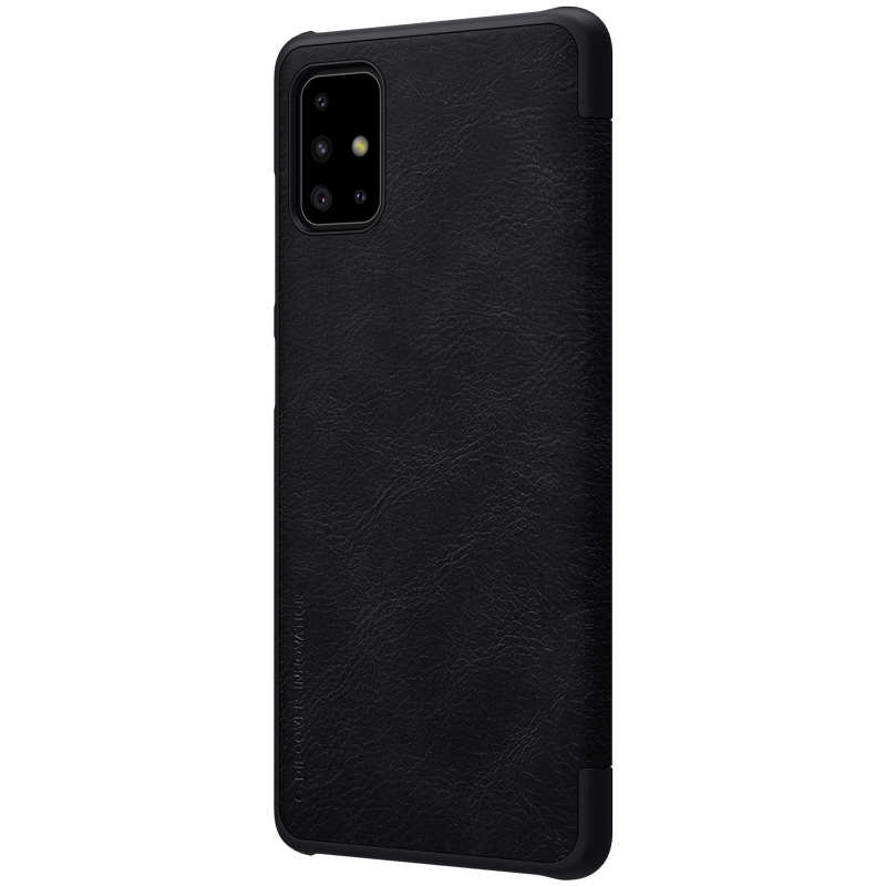 cheap For Samsung Galaxy A51 - Nillkin Qin Leather Case Shockproof Card Slot Flip Case Cover - Black