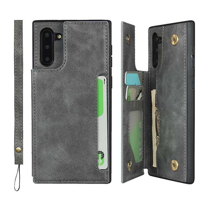 wholesale For Samsung Galaxy Note 10 - Leather Wallet Card Holder Back Case Cover - Grey