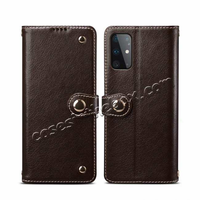 wholesale For Samsung Galaxy S20 100% Genuine Leather Wallet Card Case Cover - Wine Red