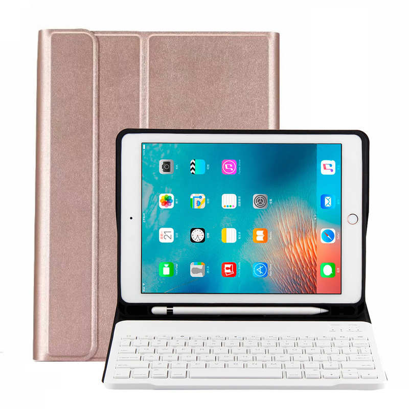 wholesale For iPad 10.2 2019 Bluetooth Keyboard Leather Case Cover With Pencil Holder - Rose Gold