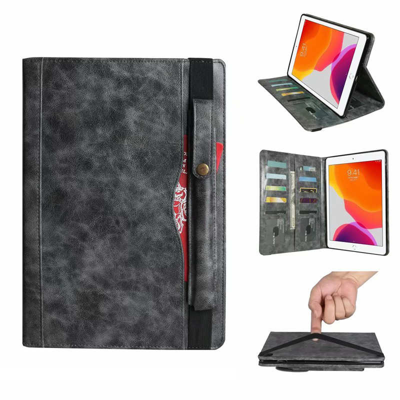 wholesale For iPad 7th Gen 10.2/Pro 11 2020 Leather Tabelt Case Card/Pencil Holder Cover - Grey