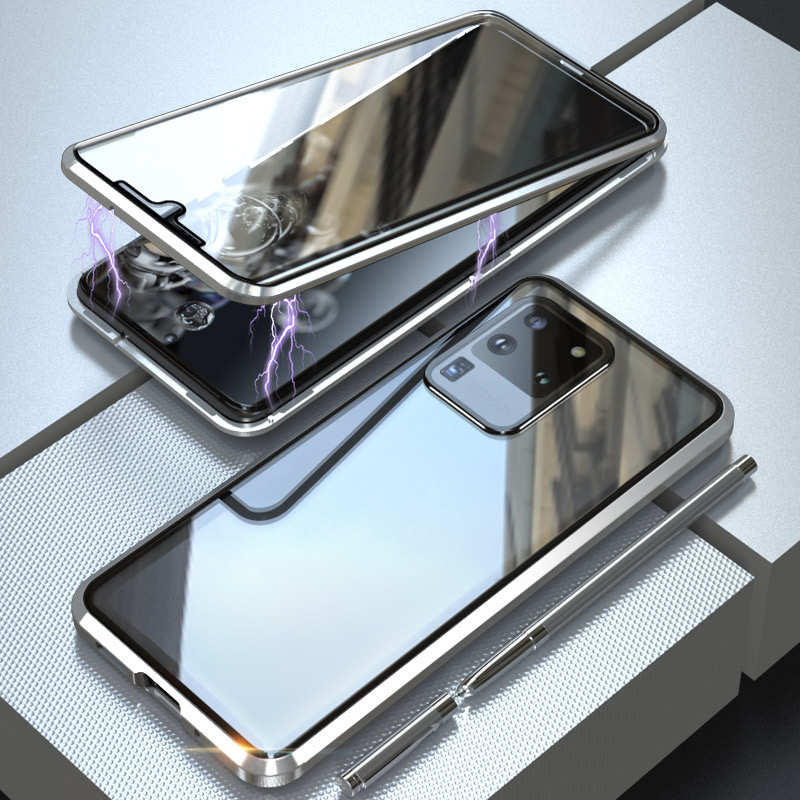 wholesale For Samsung Galaxy S20 Metal Magnetic Front Back Tempered Glass Case - Silver
