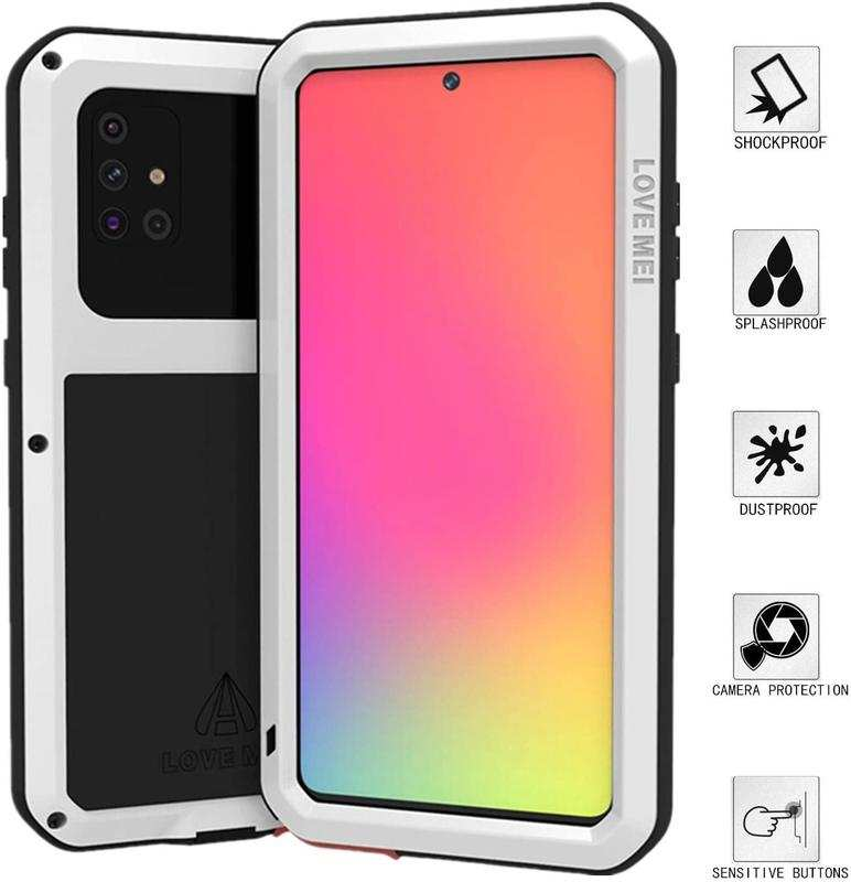 wholesale For Samsung Galaxy A71 Aluminium Metal Case Shockproof Heavy Duty Cover - White
