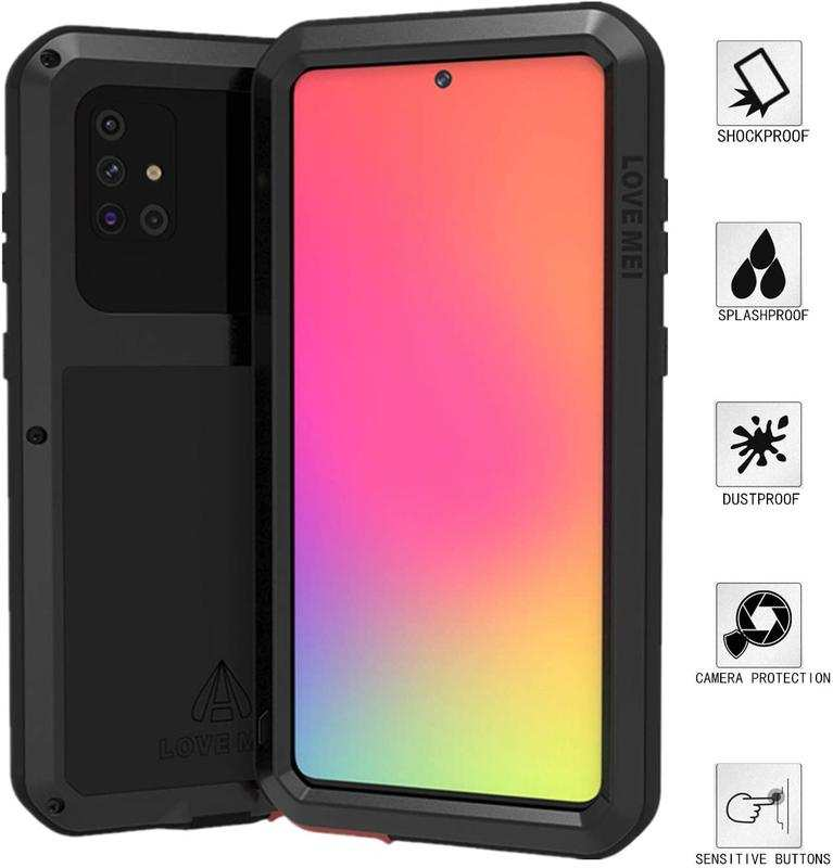 wholesale For Samsung Galaxy A71 Metal Shockproof Aluminum Heavy Duty Case Cover - Black