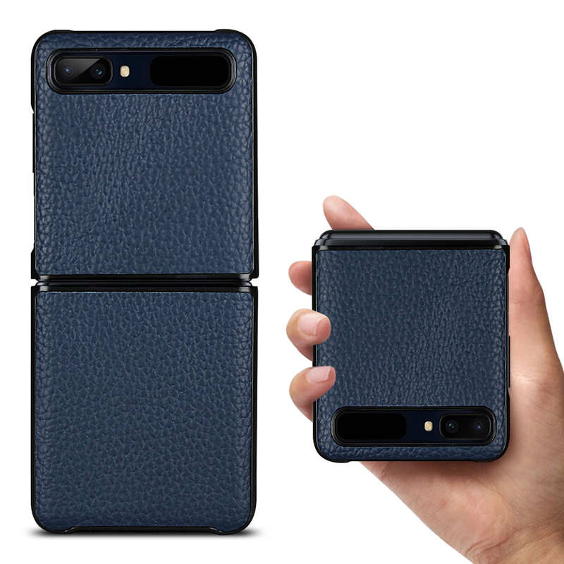wholesale For Samsung Galaxy Z Flip Phone Case Genuine Leather Flip Shockproof Cover - Navy Blue