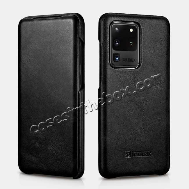 wholesale ICARER Vintage Series Genuine Leather Flip Case For Samsung Galaxy S20 Ultra 5G - Black