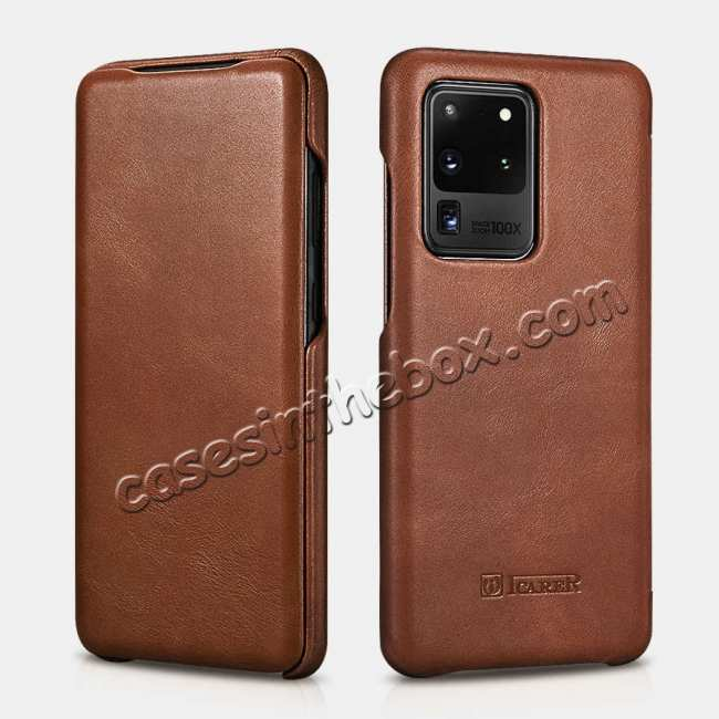 wholesale ICARER Vintage Series Genuine Leather Flip Case For Samsung Galaxy S20 Ultra 5G - Brown