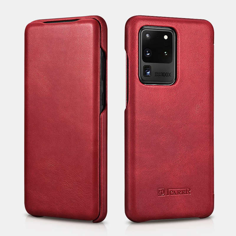 wholesale ICARER Vintage Series Genuine Leather Flip Case For Samsung Galaxy S20 Ultra - Red