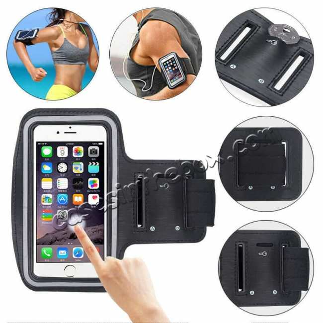 wholesale For LG K51 Sport Armband Phone Holder Running Jogging Gym Arm Band Bag Case - Black