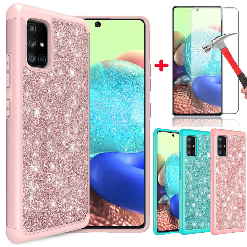 wholesale For Samsung Galaxy A11 A21 A71 5G UW Phone Case Glitter Bling Cover With Screen Protector