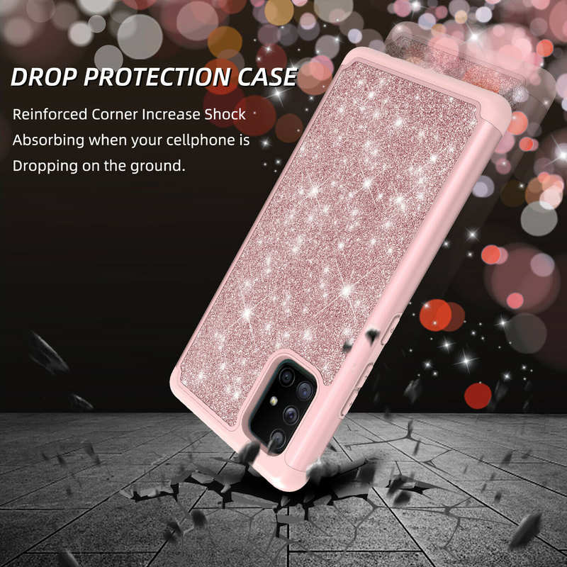 top quality For Samsung Galaxy A11 A21 A71 5G UW Phone Case Glitter Bling Cover With Screen Protector