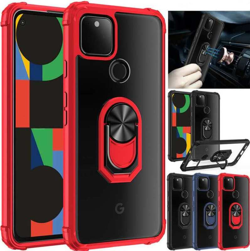 wholesale For Google Pixel 4A 5G 5 Case,Shockproof Ring Holder Magnetic Clear Back Cover