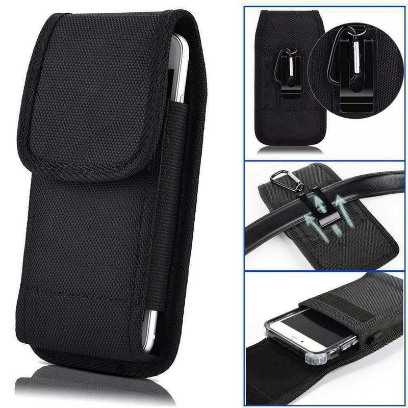 wholesale For Consumer Cellular ZMax 10 Phone Case Belt Pouch Holster with Clip Black